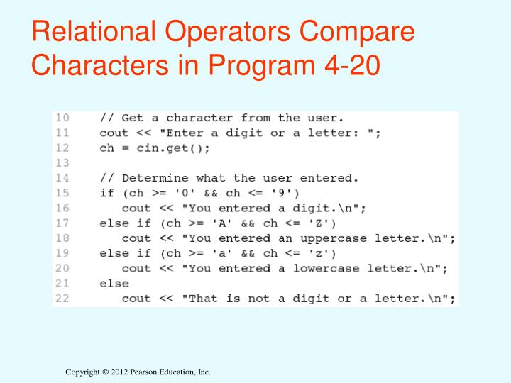 Relational Operators Compare Characters in Program 4-20