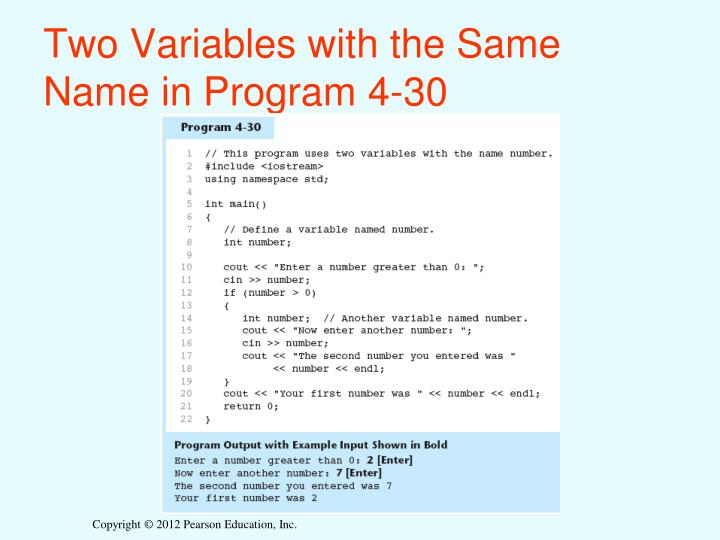 Two Variables with the Same Name in Program 4-30