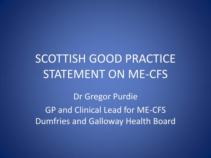 scottish good practice statement on me cfs n.