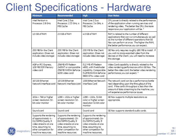 Client Specifications - Hardware