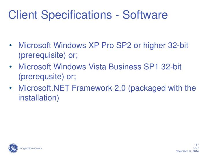 Client Specifications - Software