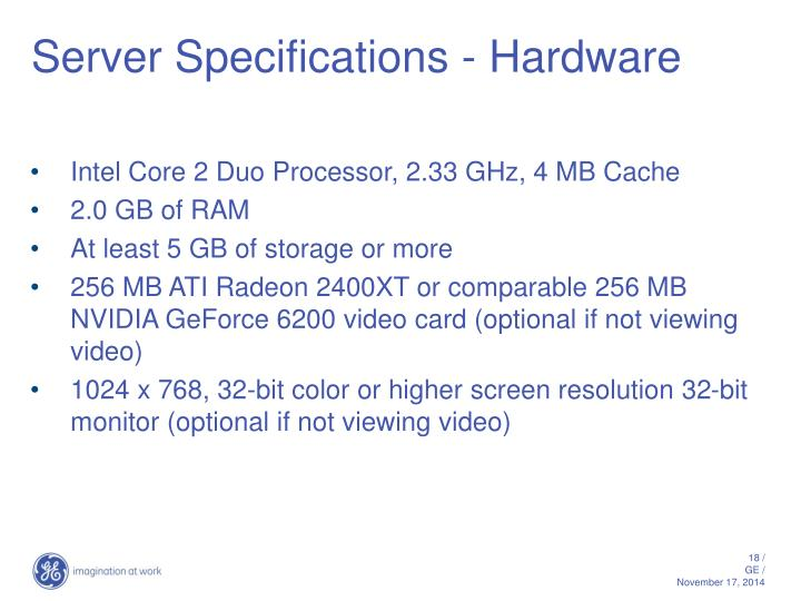Server Specifications - Hardware