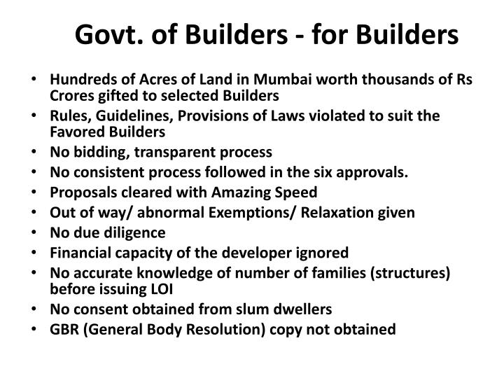 Govt. of Builders - for Builders