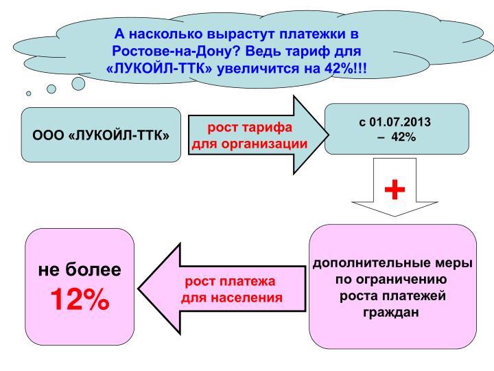 А насколько вырастут платежки в Ростове-на-Дону? Ведь тариф для «ЛУКОЙЛ-ТТК» увеличится на 42%!!!