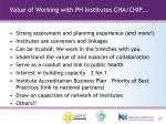 value of working with ph institutes cha chip