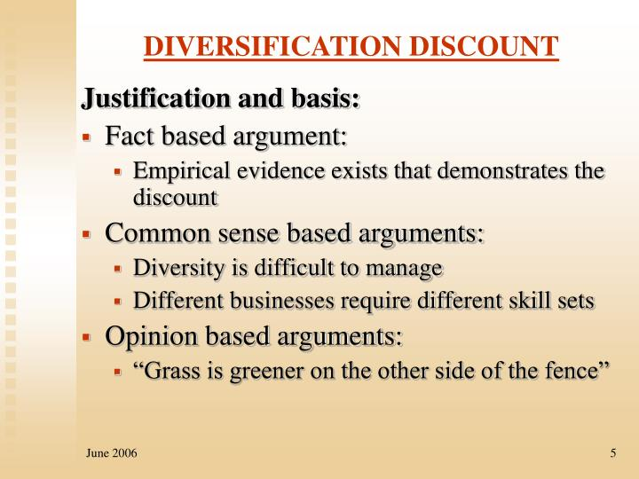 DIVERSIFICATION DISCOUNT