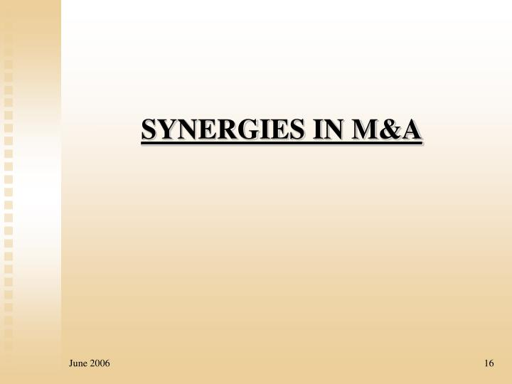 SYNERGIES IN M&A