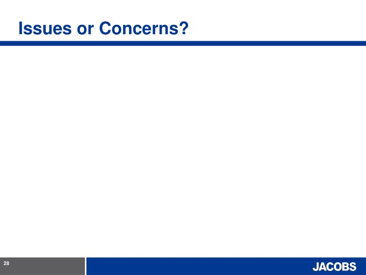 Issues or Concerns?