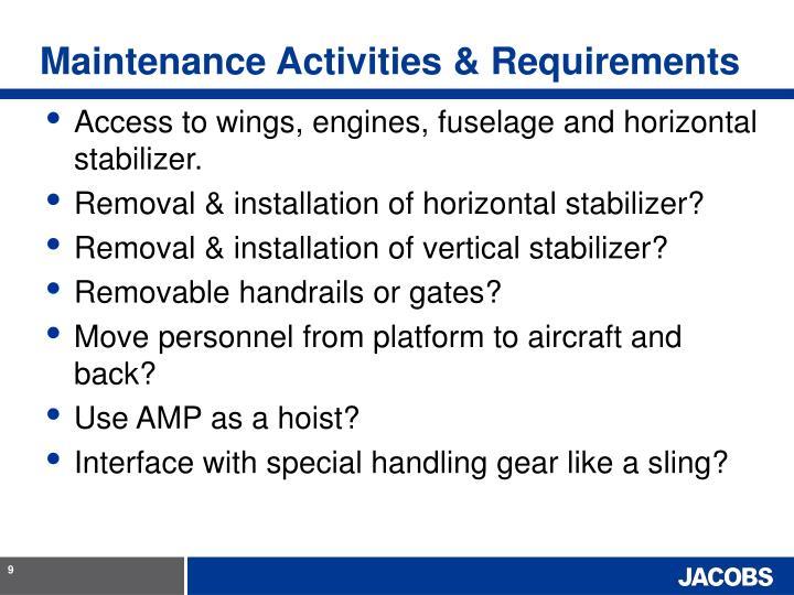Maintenance Activities & Requirements