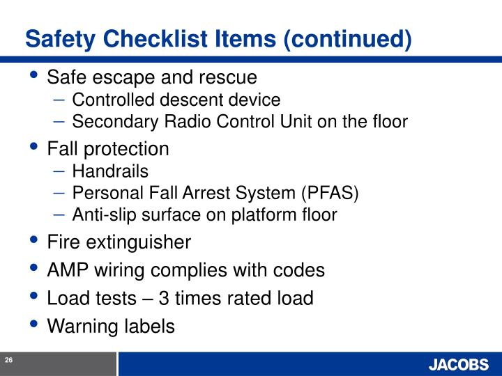 Safety Checklist Items (continued)