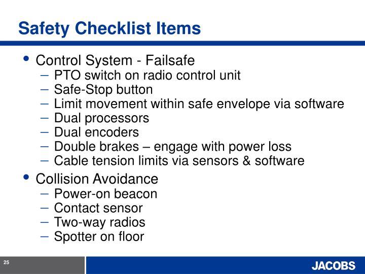 Safety Checklist Items