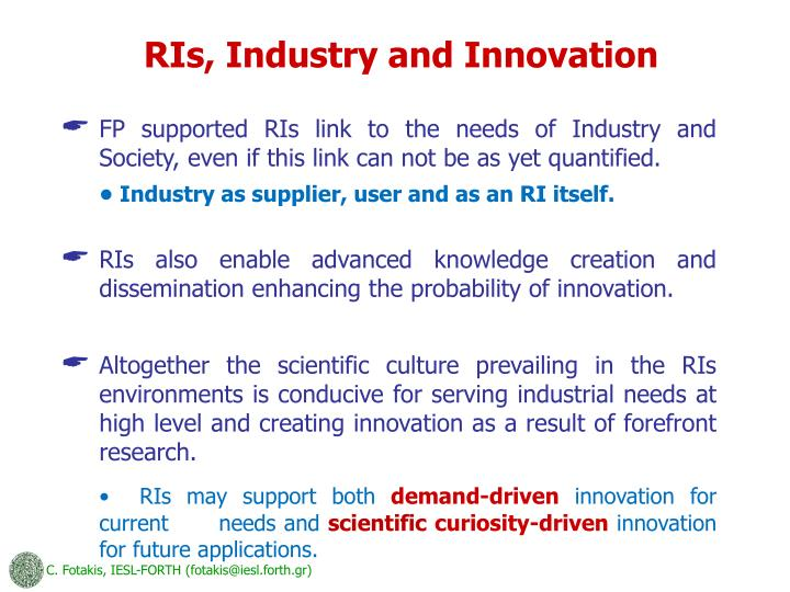 RIs, Industry and Innovation