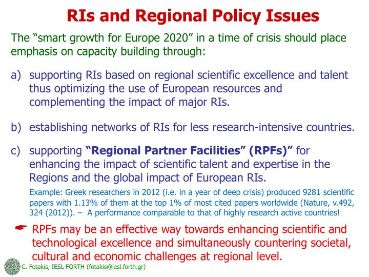 RIs and Regional Policy Issues