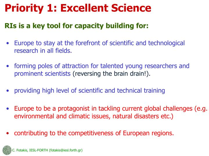Priority 1: Excellent Science