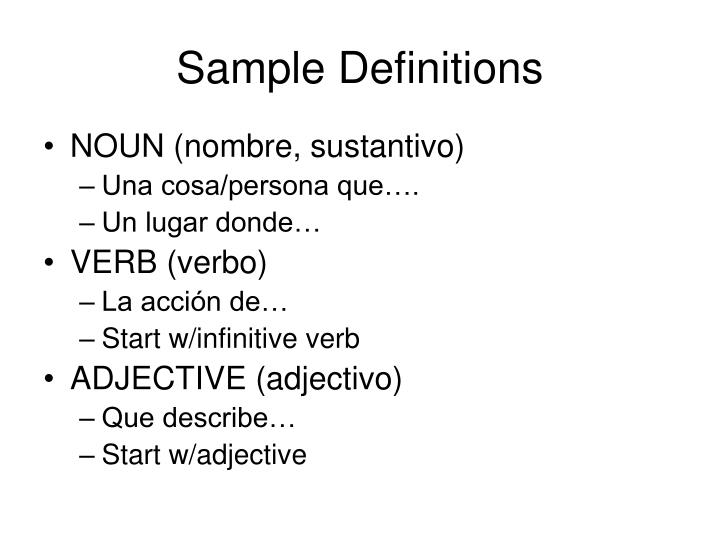 Sample definitions