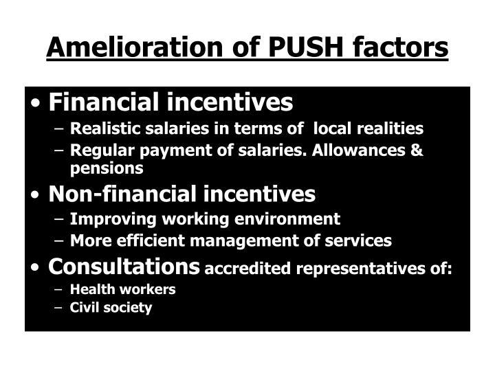 Amelioration of PUSH factors