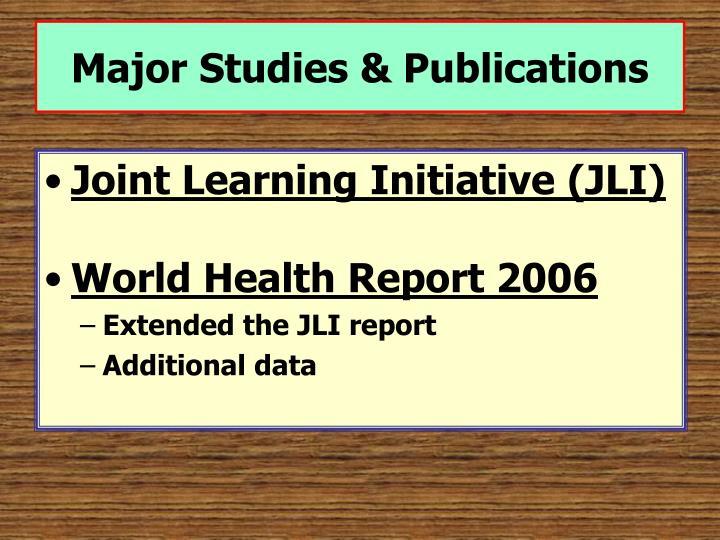 Major studies publications