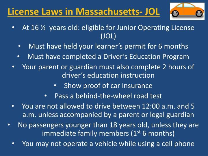 License laws in massachusetts jol