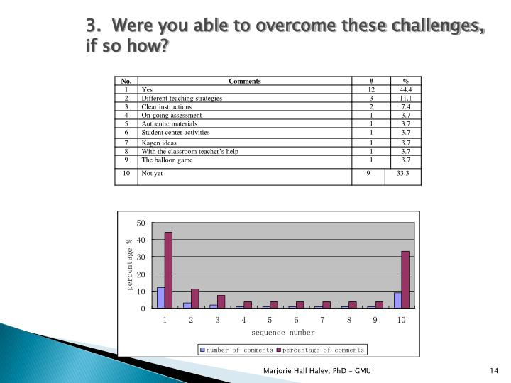 3.  Were you able to overcome these challenges, if so how?