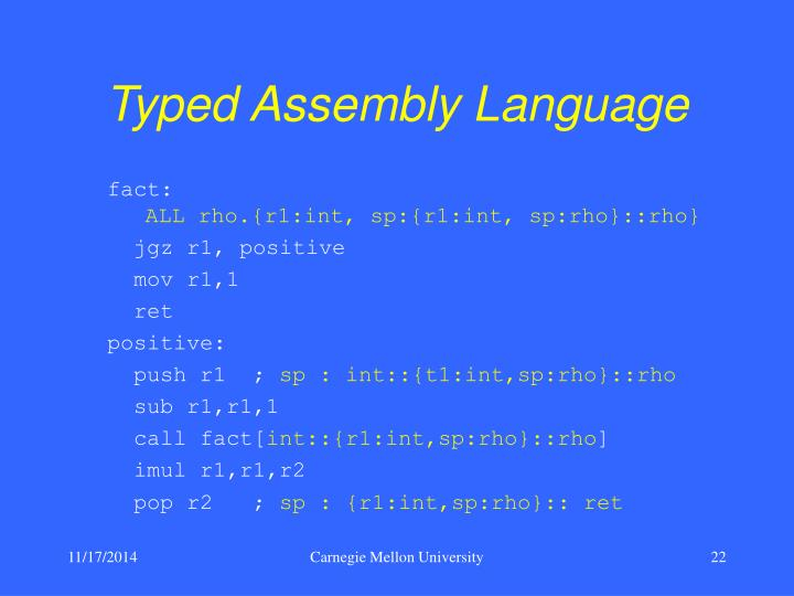 Typed Assembly Language