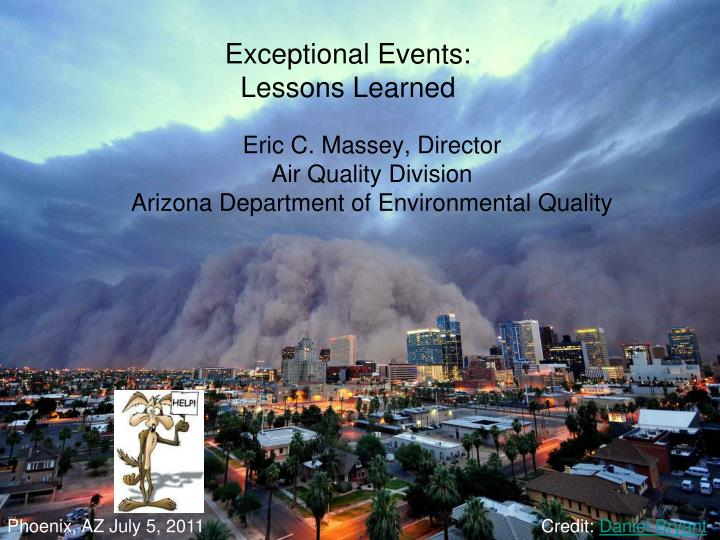 Exceptional events lessons learned