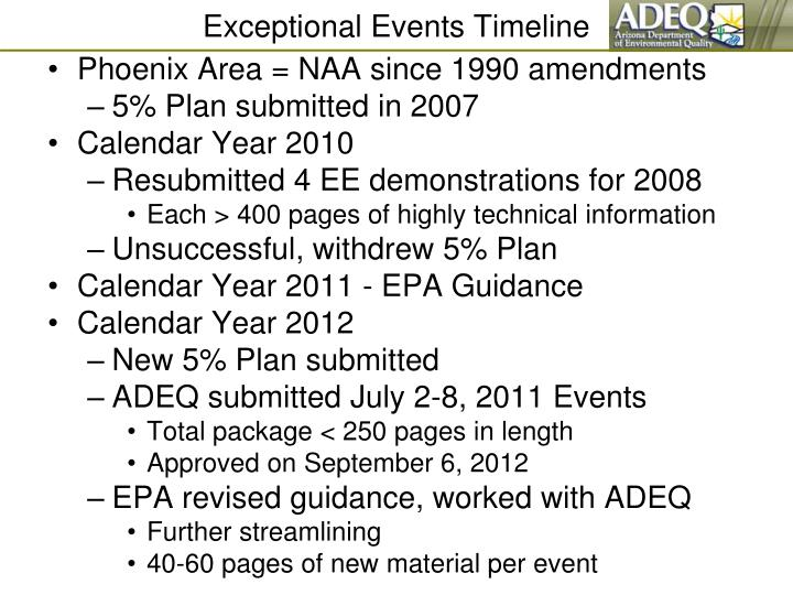 Exceptional events timeline