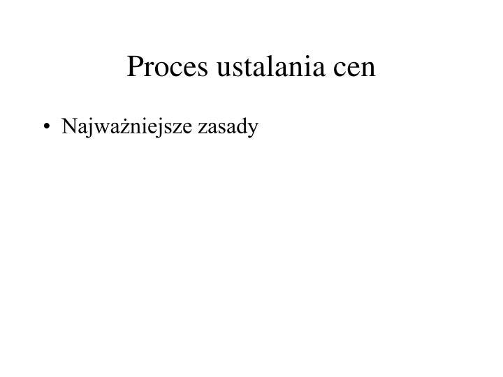 Proces ustalania cen