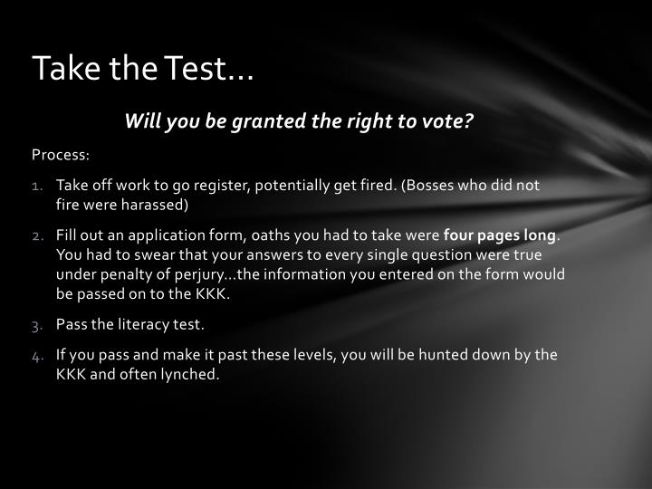 Take the Test…