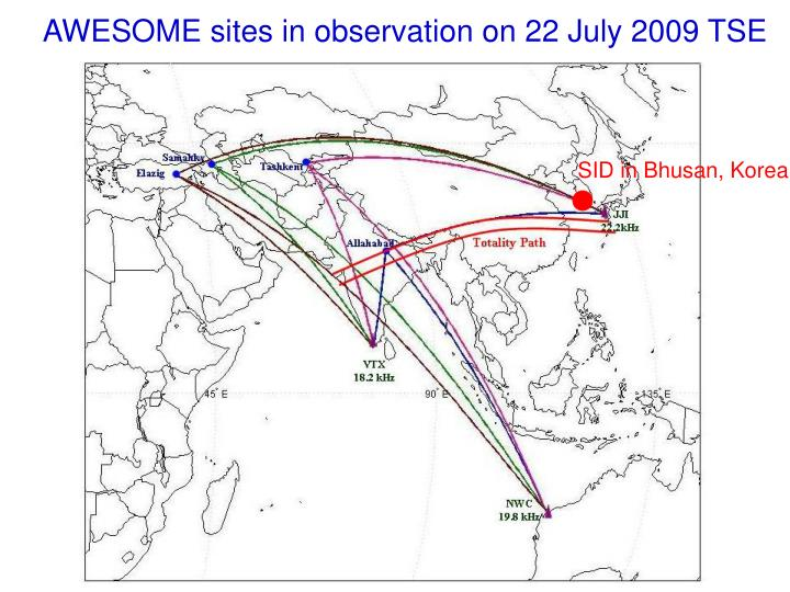 AWESOME sites in observation on 22 July 2009 TSE