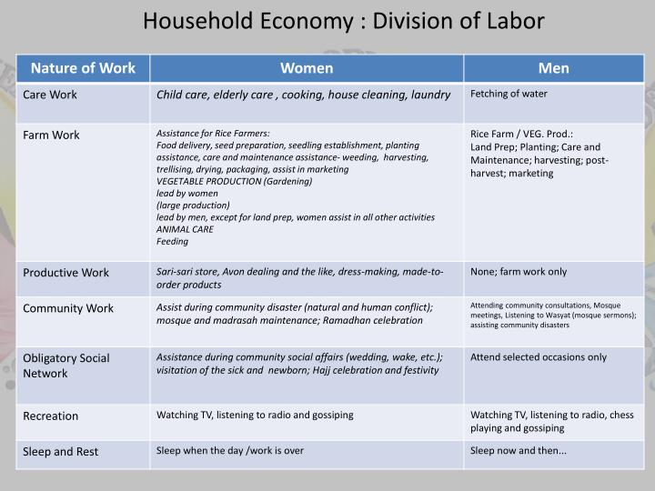 Household Economy : Division of Labor