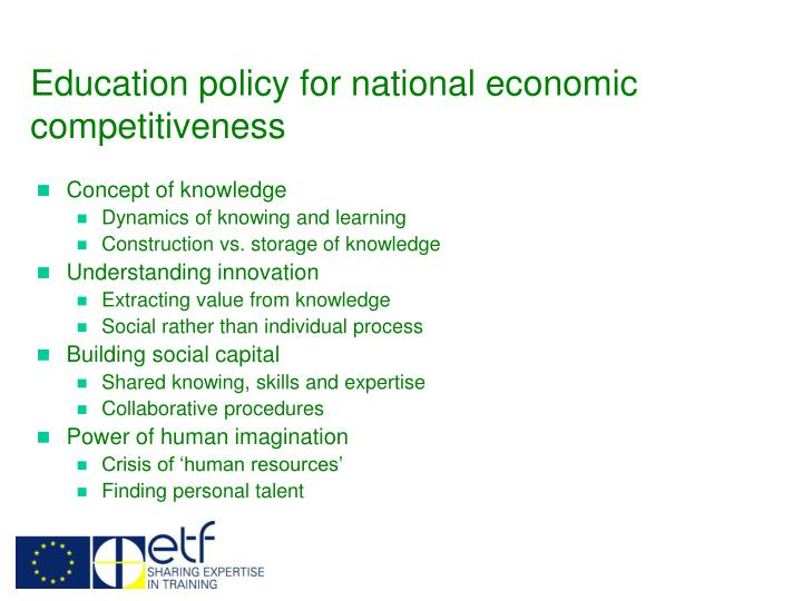 Education policy for national economic competitiveness