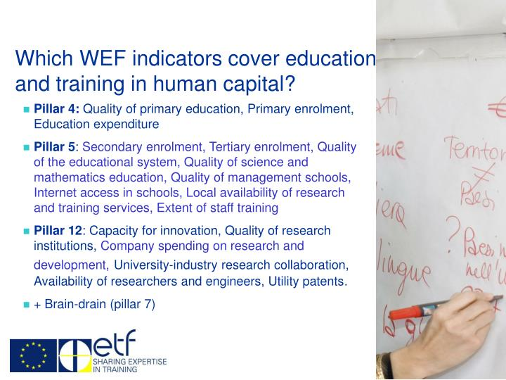 Which WEF indicators cover education and training in human capital?