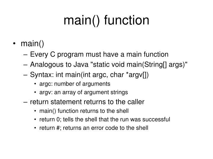 main() function