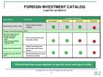 foreign investment catalog legal set up options