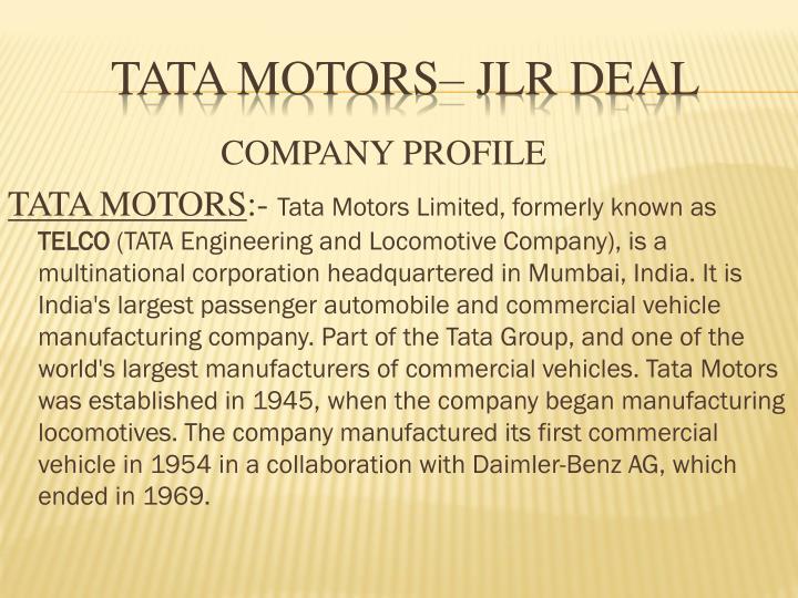 Tata motors jlr deal