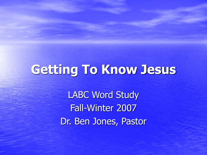 getting to know jesus n.