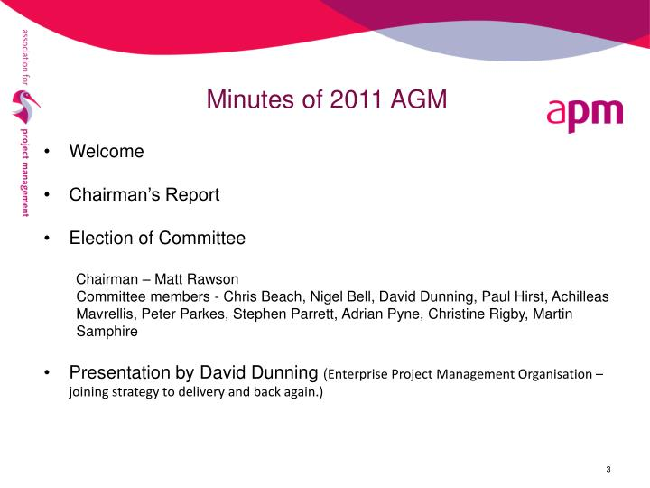 Minutes of 2011 AGM