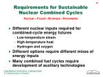 requirements for sustainable nuclear combined cycles nuclear fossil biomass renewable