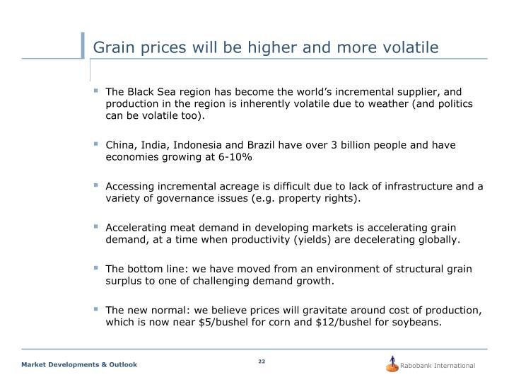 Grain prices will be higher and more volatile