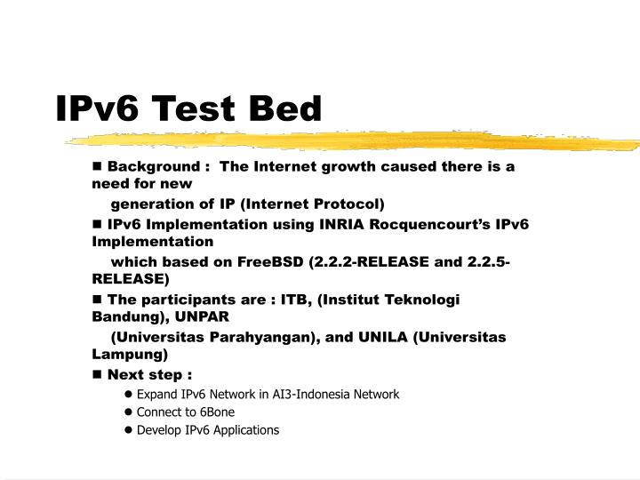 IPv6 Test Bed