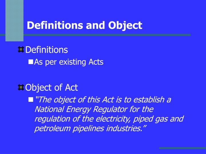 Definitions and Object