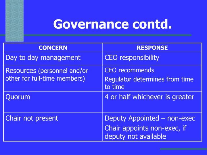 Governance contd.