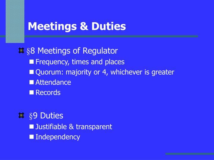 Meetings & Duties