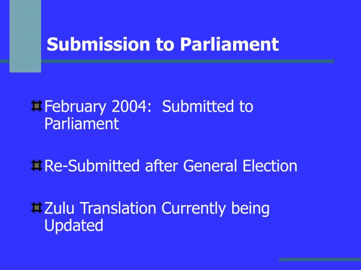 Submission to Parliament