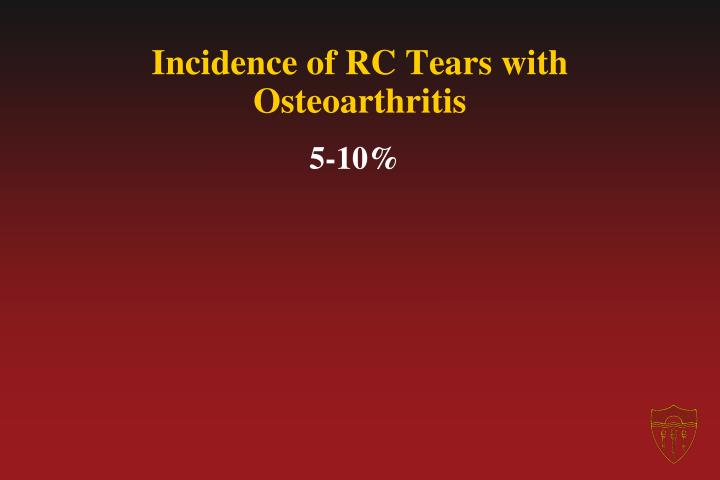 Incidence of rc tears with osteoarthritis