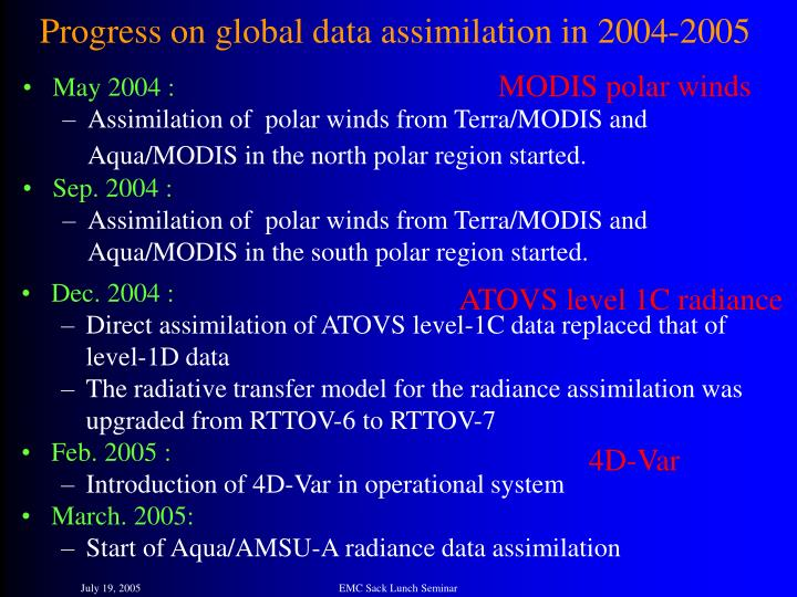 Progress on global data assimilation in 2004-2005
