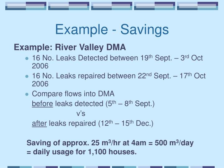 Example - Savings