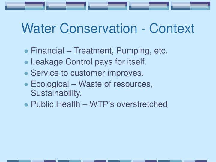 Water conservation context