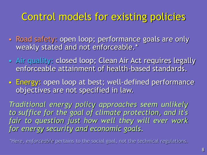 Control models for existing policies