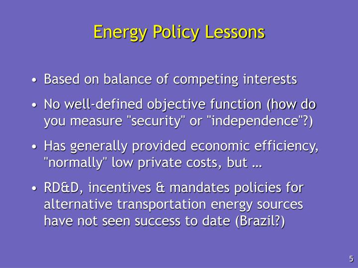 Energy Policy Lessons